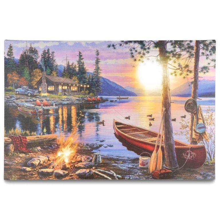 Garthen Nástěnná malba Západ slunce - 8 LED, 40 x 60 cm