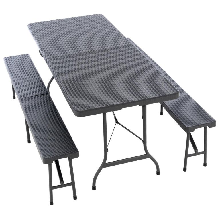 Garthen Zahradní set, 2 lavice a stůl v ratanovém designu - antracit