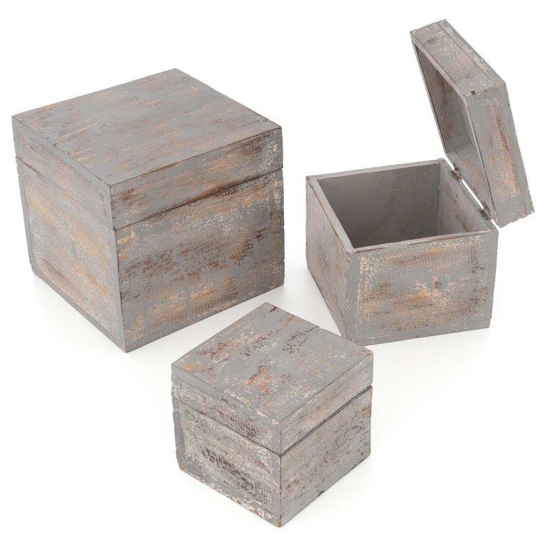 Divero Dřevěné krabičky s víkem, sada 3 kusů, tmavě šedá