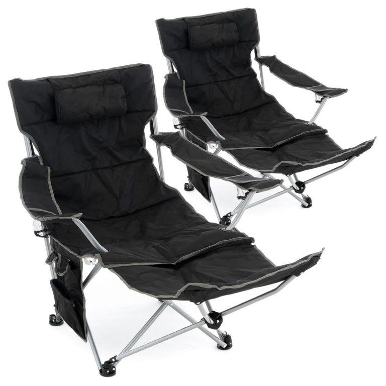 Divero Sada 2 ks kempingových židlí s odnímatelná podnožkou, černá