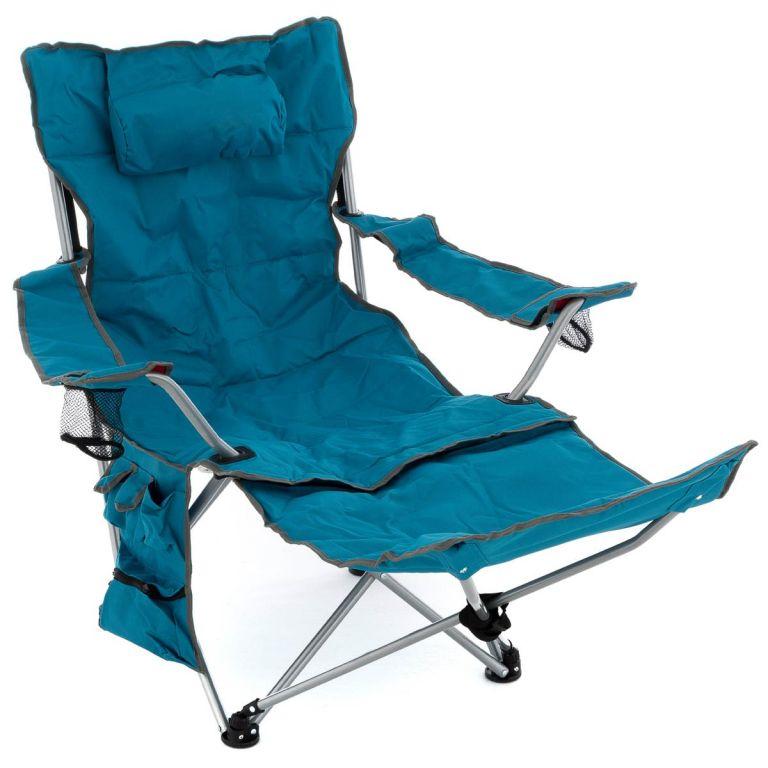 Divero Kempingová židle s odnímatelnou podnožkou, modrá