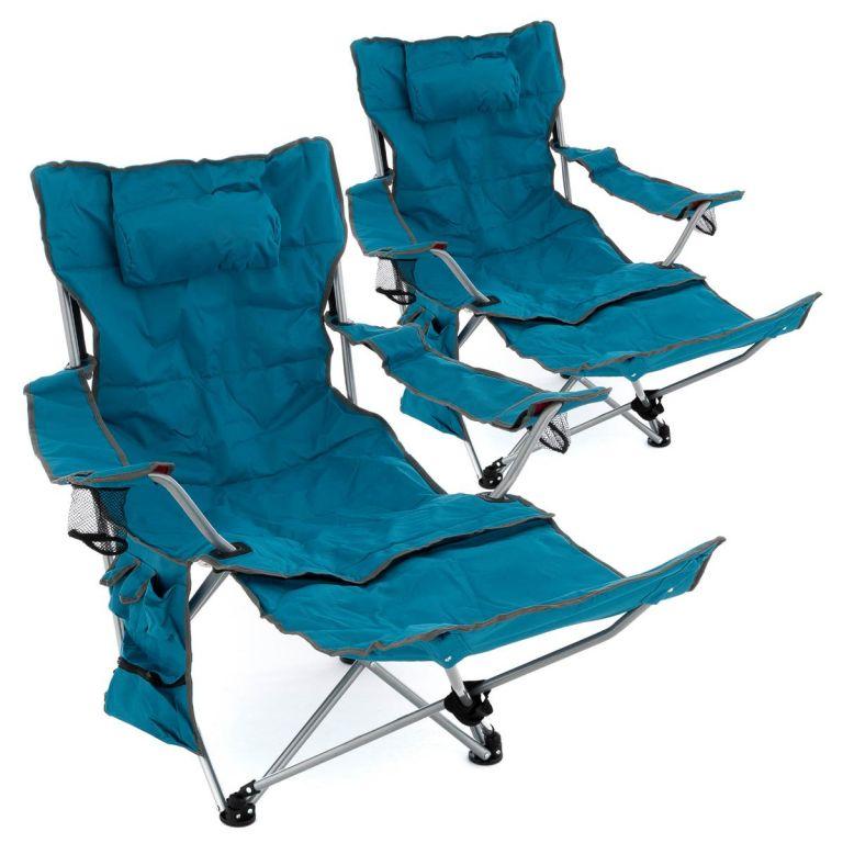 Divero Sada 2 ks kempingových židlí s odnímatelná podnožkou, modrá