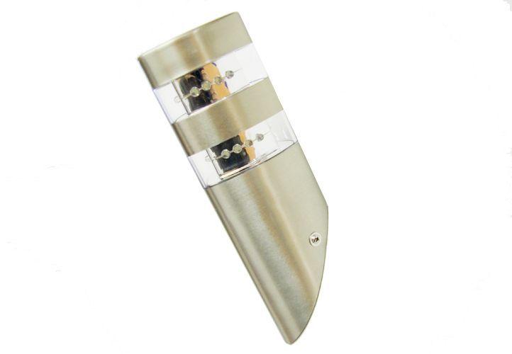 Garthen 84 LED nerezová nástěnná lampa s 2 x 12 LED diodami 23,5 cm