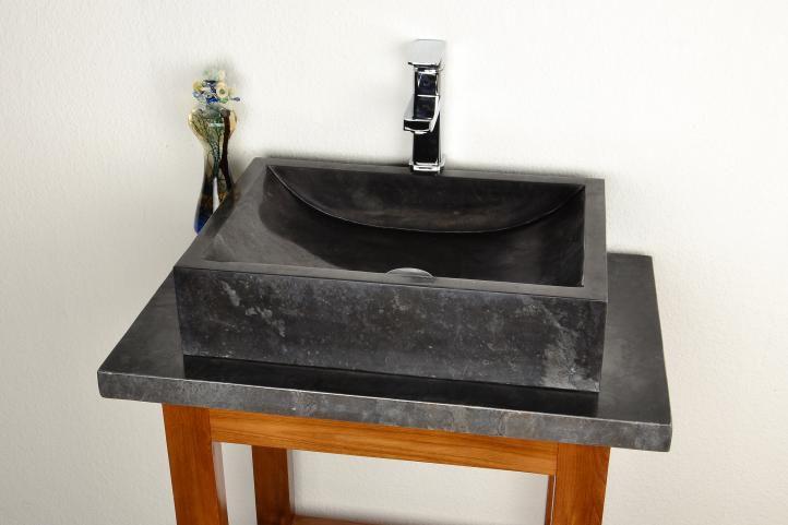Divero 944 Kamenné umyvadlo - leštěný mramor černé NOVARA