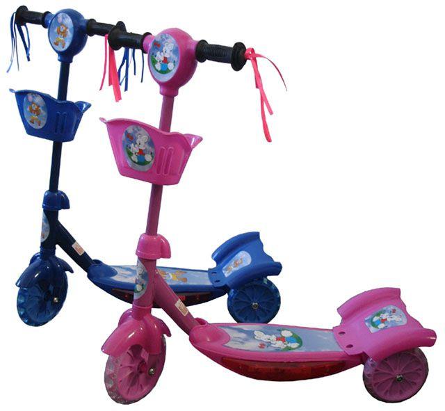 Dětská koloběžka se třemi kolečky růžová