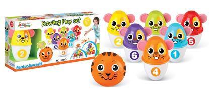Hrací set G21 Kuželky s koulí barevné myšky