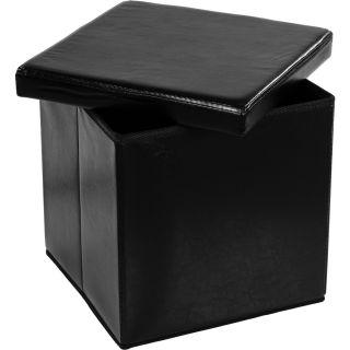 Taburet s úložným prostorem, černý