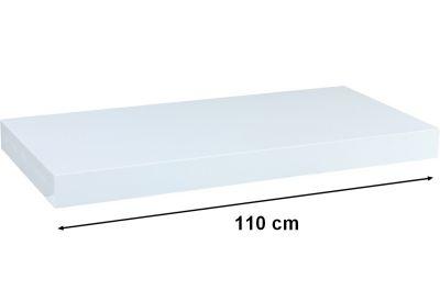 Nástěnná police STILISTA VOLATO - lesklá bílá 110 cm