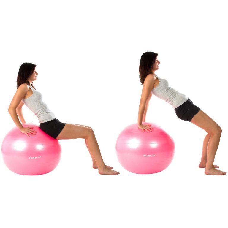 Gymnastický míč MOVIT s pumpou - 55 cm - stříbrný