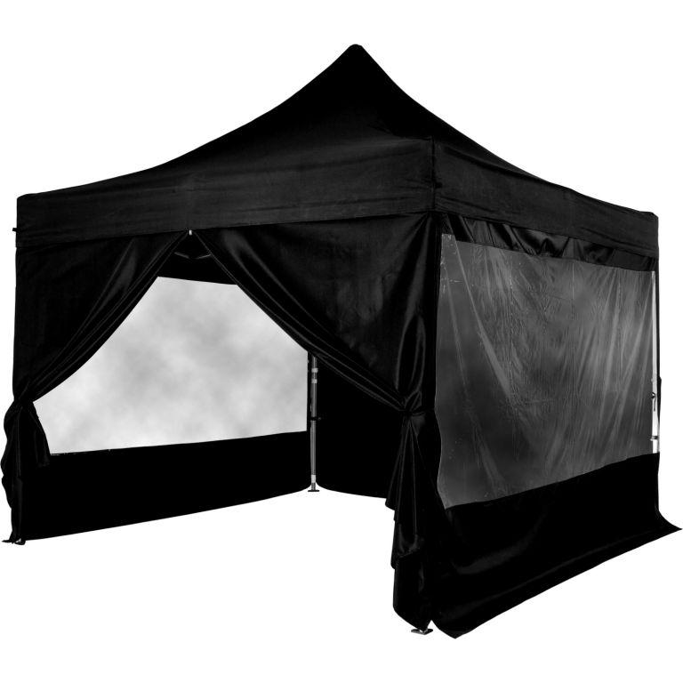 INSTENT 58602 Zahradní párty stan nůžkový 3x3 m + 4 boční stěny - černý