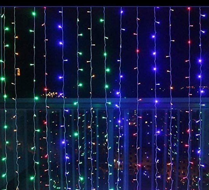 VOLTRONIC® 59570 Vánoční osvětlení - světelný závěs - 3x3 m barevná 300 LED