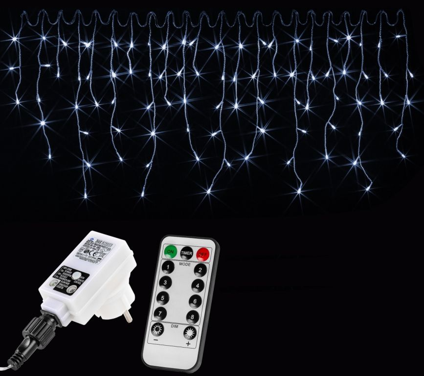 VOLTRONIC® 59792 Vánoční světelný déšť 200 LED studená bílá - 5 m + ovladač