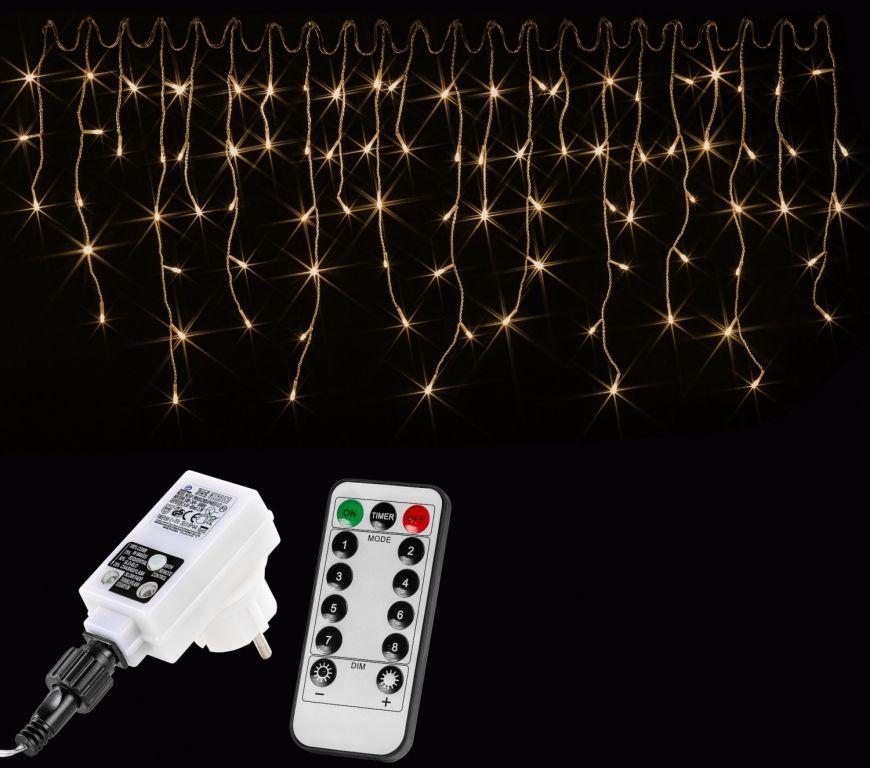 VOLTRONIC® 59795 Vánoční světelný déšť 600 LED teple bílá - 15 m + ovladač