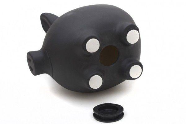 Keramická kasička - černé popisovatelné prasátko