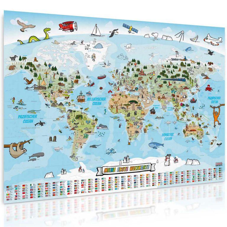 Dětská vzdělávací mapa světa 140 x 100cm- francouzský jazyk