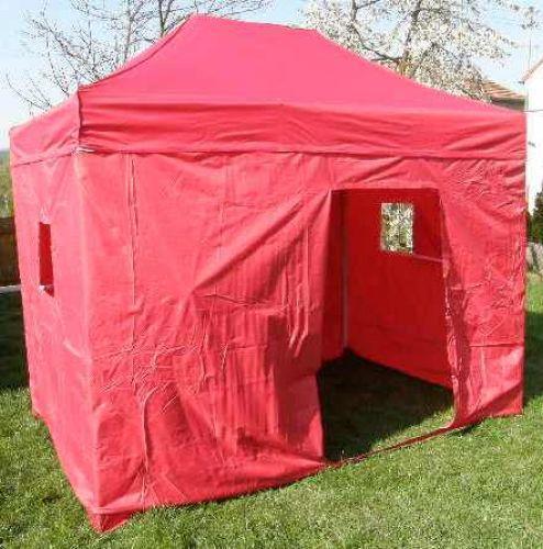 Zahradní párty stan CLASSIC nůžkový + boční stěny - 3 x 4,5 m červený