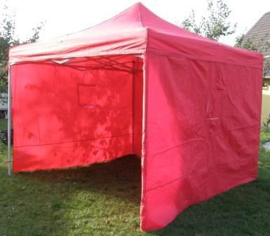 Tradgard DELUXE 41055 Zahradní párty stan nůžkový + boční stěny - 3 x 3 m červená