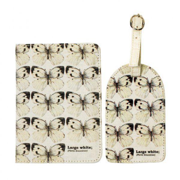 Pouzdro na doklady a visačka na kufr - Bílý motýl