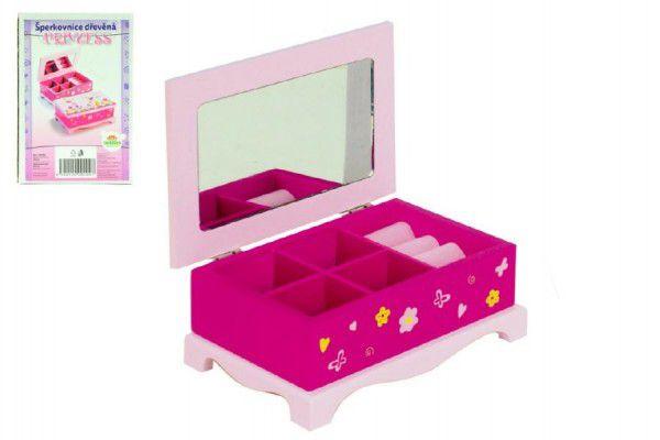Princess Skříňka šperkovnice zrcadlo dřevo 17x7x11,v krabici