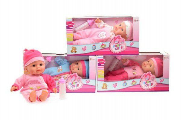 Teddies Panenka miminko s lahví měkké tělo plast 30cm v krabici 31x16x11cm