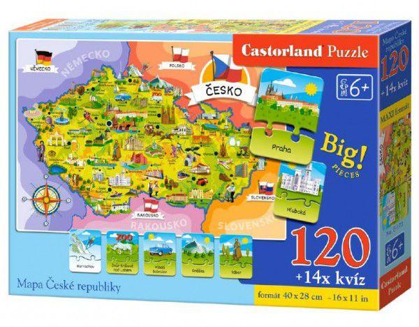 Mapa České republiky Puzzle 120 dílků + 1kvízů naučné v krabici