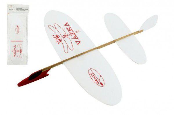 Vážka Letadlo házecí model polystyren/dřevo 39x31cm v sáčku