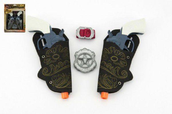 Teddies 50867 Pistole kovbojská plast 16cm 2ks s doplňky v krabici