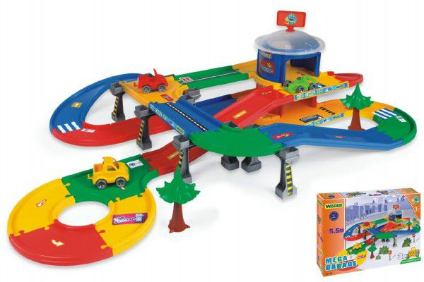 Kid Cars 3D Wader Garáž 2 patra s cestou plast v krabici 79x54x14cm