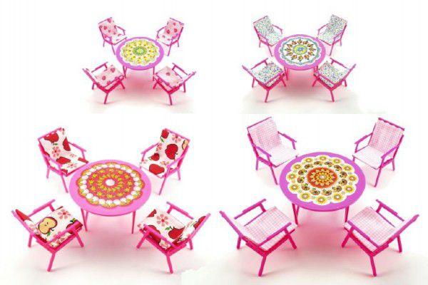 Nábytek pro panenky stůl + židle plast 17cm