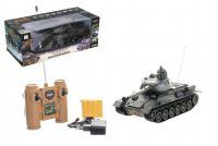 Tank RC plast 33cm T-34 27MHz na baterie+dobíjecí pack se zvukem a světlem v krabici 40x15x19cm