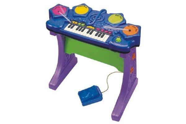 Piáno/klávesy s bubny plast na baterie se zvukem v krabici