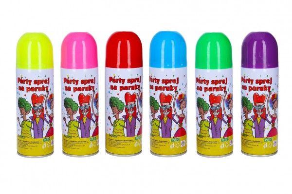 Sprej barevný na paruky smývatelný 17cm 140 ml 6 barev karneval