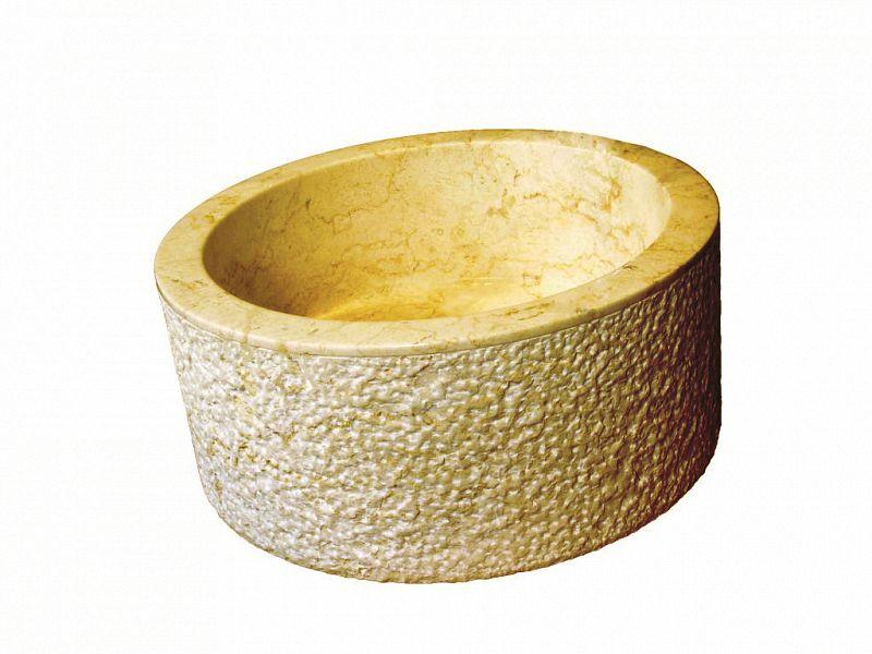 Indera MIRUM 509 Ø40 cm Yellow Umyvadlo z přírodního kamene