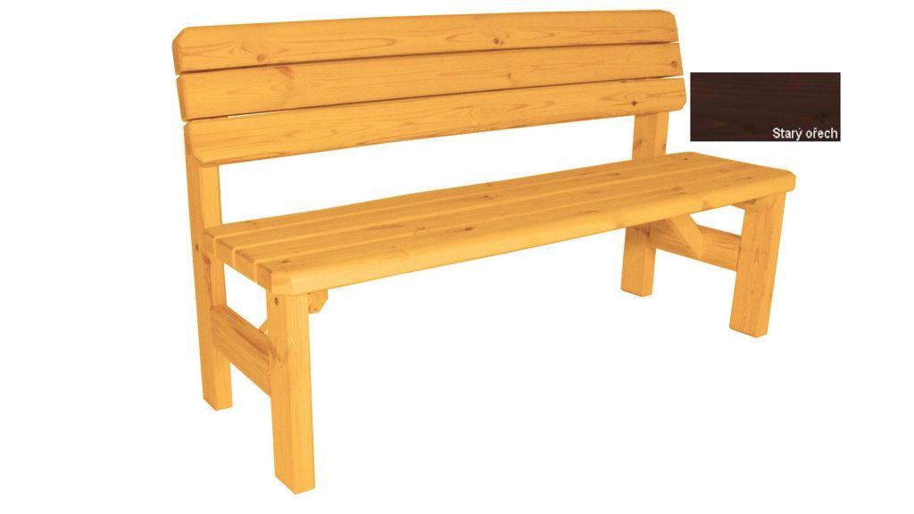 Gaboni Darina 55579 Zahradní dřevěná lavice s opěradlem - s povrchovou úpravou - 150 cm