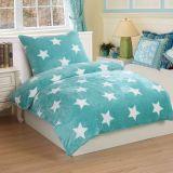 Mikroplyšové ložní prádlo STARS MINT