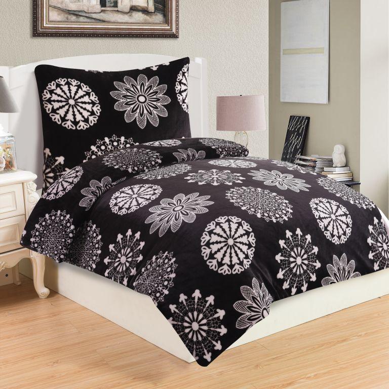 Mikroplyšové ložní prádlo - Coco black