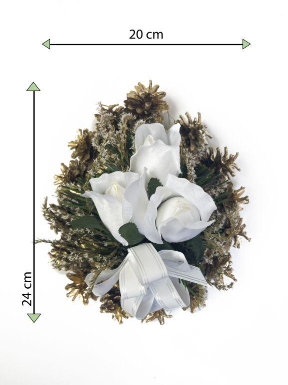 Smuteční květina ve tvaru srdce, malá, bílá