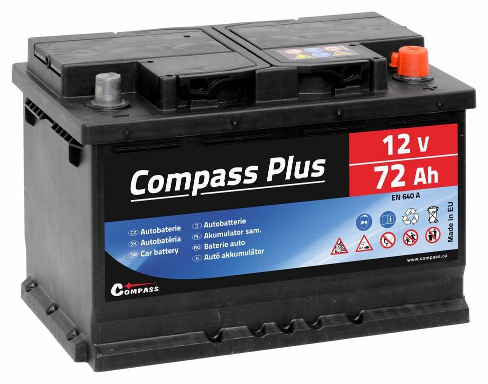 Compass Autobaterie Plus - 12V, 72Ah, 640A