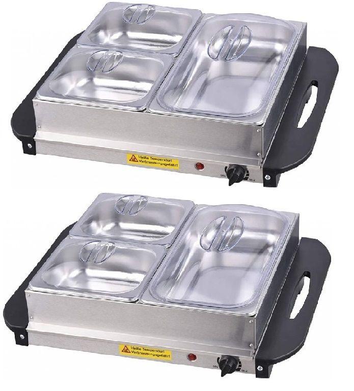 Jago 74196 Multifunkční bufetový ohřívač jídel, sada 2 kusů, 150 W