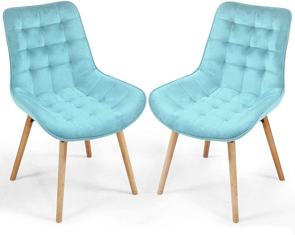 Miadomodo 74825 Sada prošívaných jídelních židlí, světle tyrkysové, 2 ks