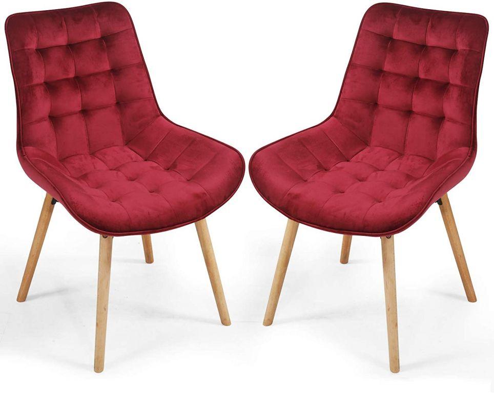 Miadomodo 74826 Sada prošívaných jídelních židlí, tmavě červené, 2 ks