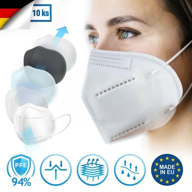 Ochranná maska, respirátor FFP2, 10 kusů