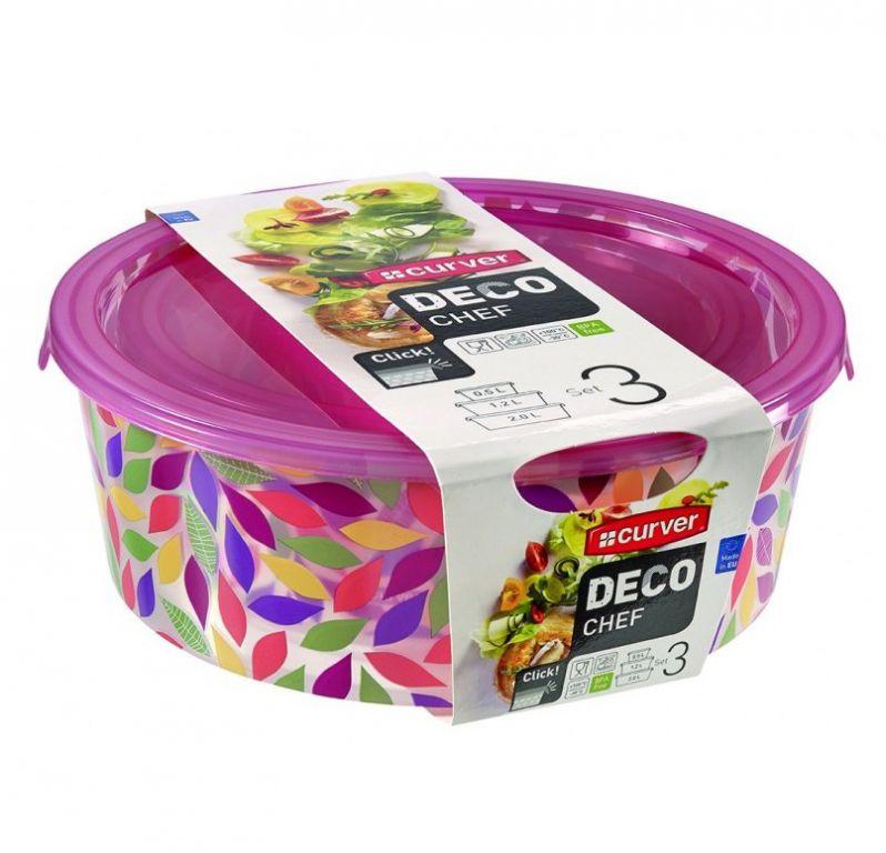 CURVER 32232 Sada 3 potravinových krabiček DECO CHEF - květy