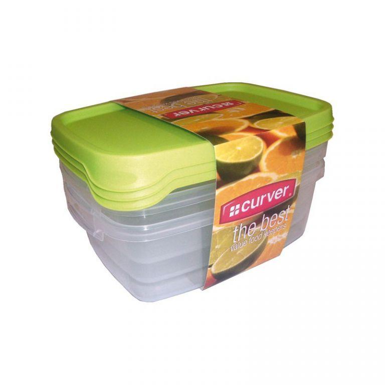 CURVER 32960 Set 3x plastová dóza TAKE AWAY FOODK 1,2l - zelené