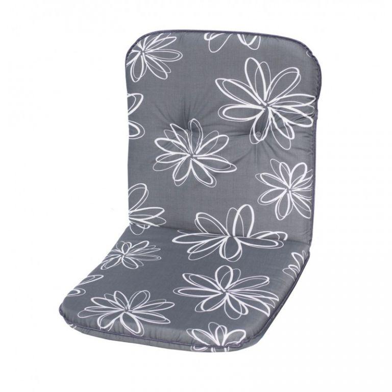 sun garden SCALA 30200-700 Polstrování na nízké křeslo - šedá s květy