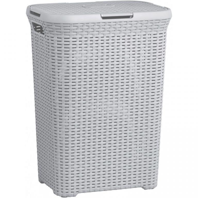 Prádelní koš s víkem STYLE RATTAN 60L koš na prádlo - šedý CURVER