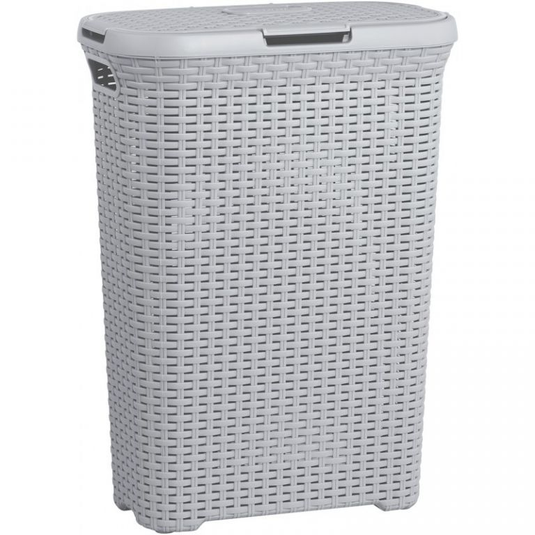 Koš na prádlo s víkem STYLE RATTAN 40L koš na prádlo - šedý CURVER