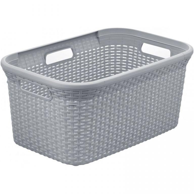 Koš na čisté prádlo RATTAN STYLE 45L - šedý CURVER